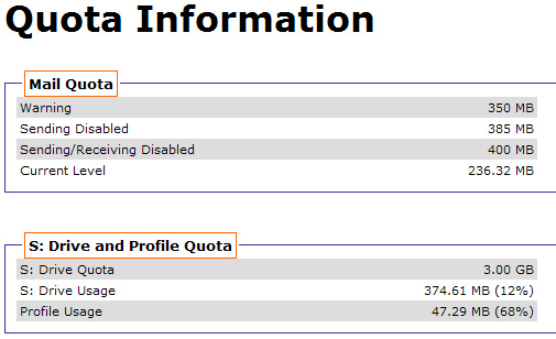 screenshot of quota information program
