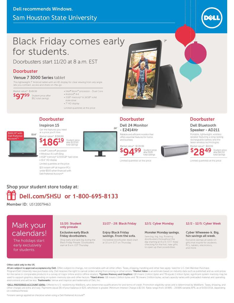 Sam Houston State University DellU BlackFriday Flyer