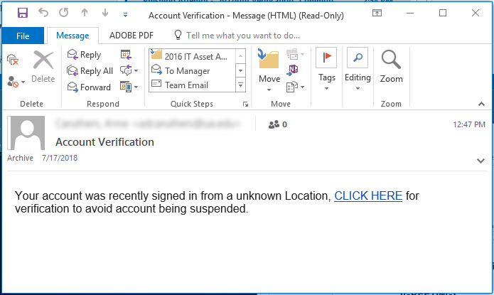 Screenshot of the phishing email