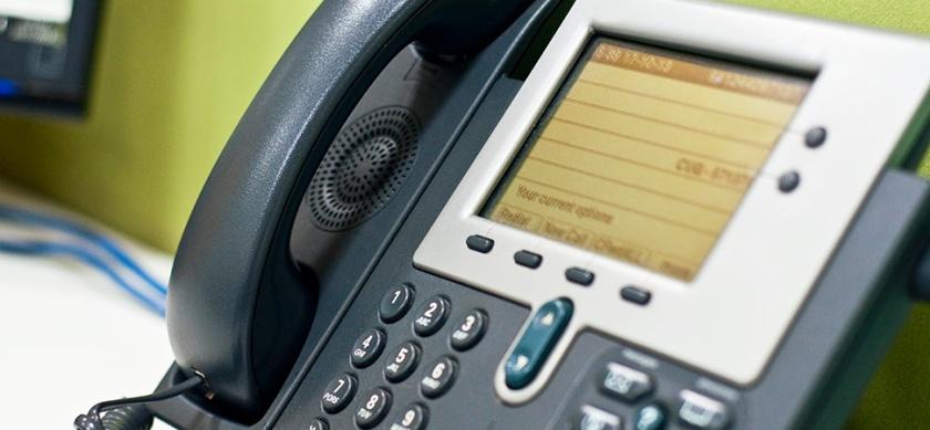 Cisco telephone on a desk