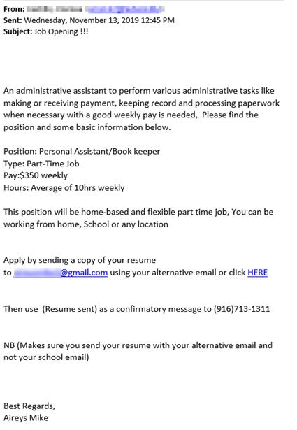 screenshot of the phishing email text