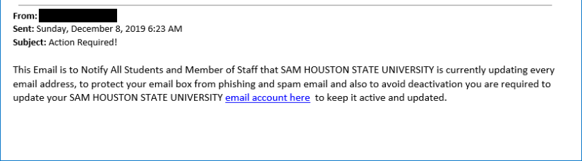 Screenshot of Email contents